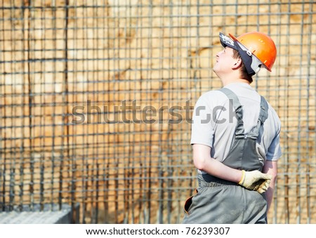 Builder Workers Knitting Metal Rods Bars Stock Photo