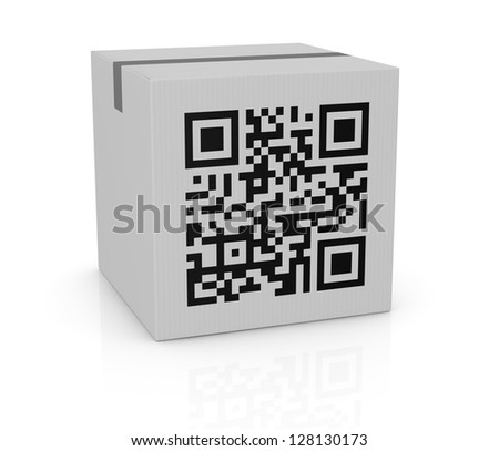 one carton box with a qr code printed on a side (3d render)