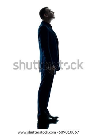 Silhouette Caucasian Business Man Walking Musing Stock ...