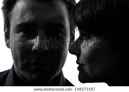 one caucasian couple woman man close up portrait  in silhouette studio isolated on white background
