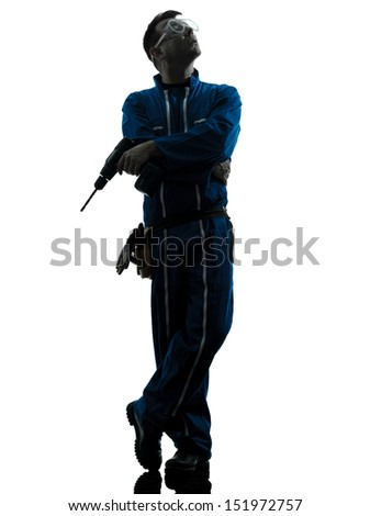 one caucasian man construction worker satisfied looking up silhouette in studio on white background
