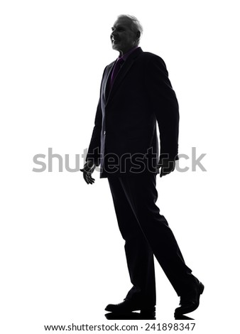 One Caucasian Senior Business Man walking Silhouette White Background