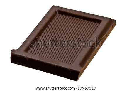 one chocolate piece isolated over white