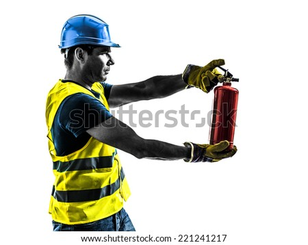 one construction worker with fire extinguisher silhouette isolated in white background