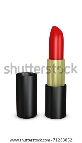 One 3d render of a red lipstick