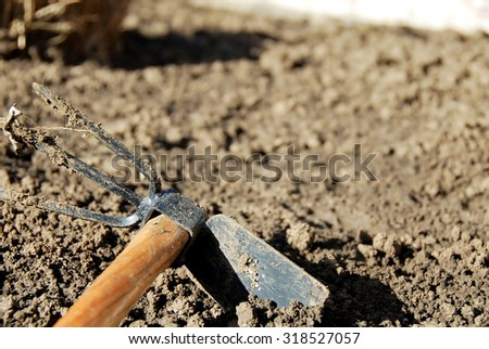 one dirty gardening hand tool - hoe in dirt closeup