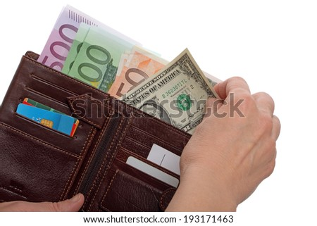 One dollar and wallet with euro banknotes isolated on white background
