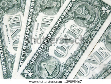 One dollar banknotes background