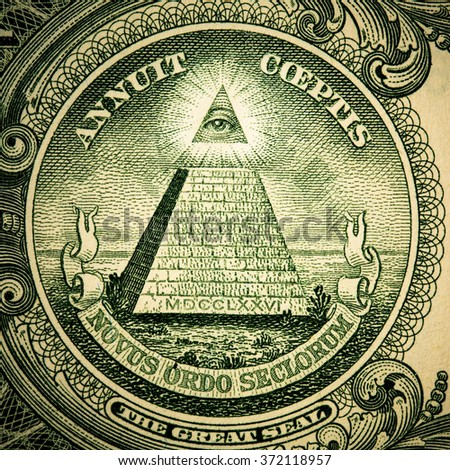 one dollar ,truncated pyramid closeup