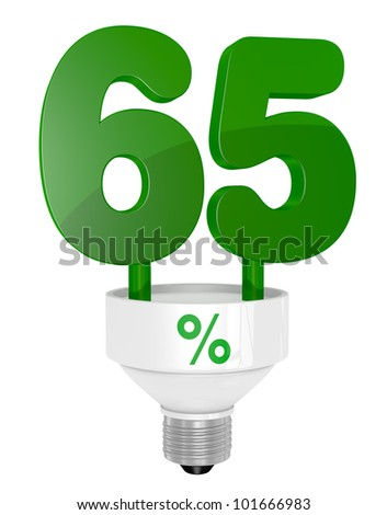 one energy saving light bulb with the number sixty five instead of the pipe (3d render)