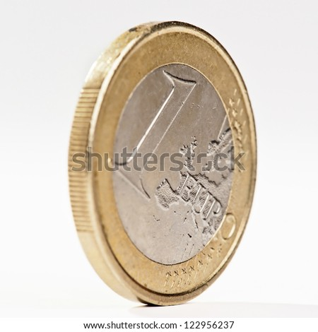 one euro coin at equilibrium, isolated on white