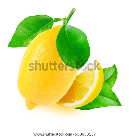 One fresh lemon with leaves and slice isolated on white background