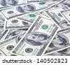 One handred dollar bills background - stock photo