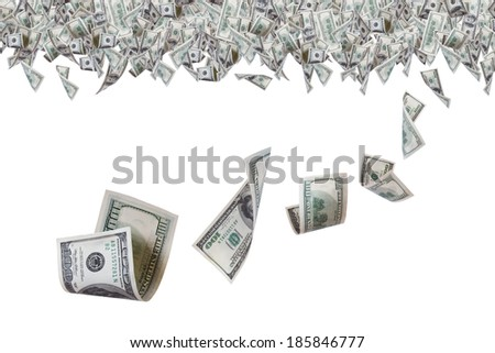 One hundred dollar banknotes flying on top border, isolated on white background.
