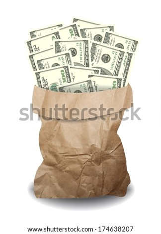 one hundred dollars money banknote in paper bag isolate on white background