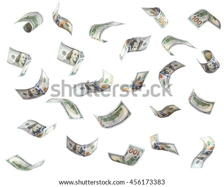 One hundred US dollar bills are falling. Isolated on white background.