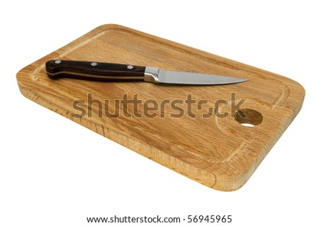 One knife with wooden handle over cutting board, isolated on white background