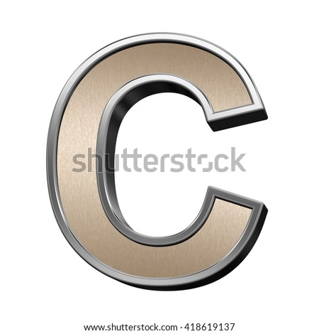 One letter from brushed copper with silver frame alphabet set, isolated on white. 3D illustration.