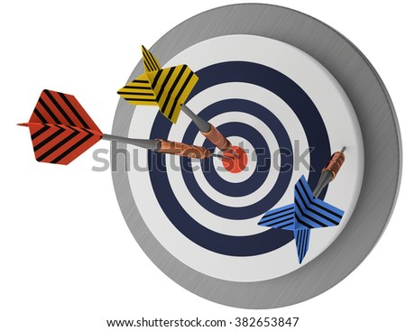 one looser, two winners,  lucky target three arrows, marketing hit trying, white background 3D illustration,