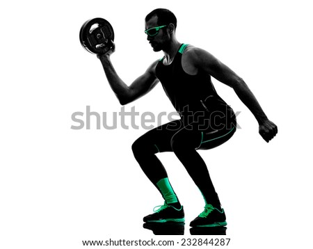one man exercising weight disk fitness  in silhouette isolated on white background