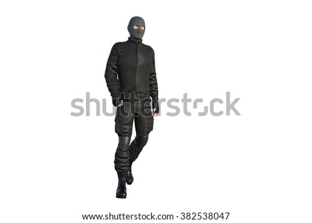one man in military uniform walking on a transparent background. 3D Illustration, 3D rendering