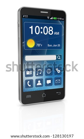 one modern cell phone with touchscreen (3d render)