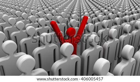 One of many. Symbols of people lined up in a order on a white surface and one red with his hands raised up. 3D Illustration. Isolated