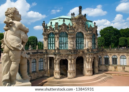 One of the statue above the Zwinger Museum in Dresden, Germany