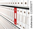 One Red File Among White For Getting Office Organized - stock photo