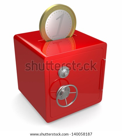 one red safe with a hole on top and a coin (3d render)