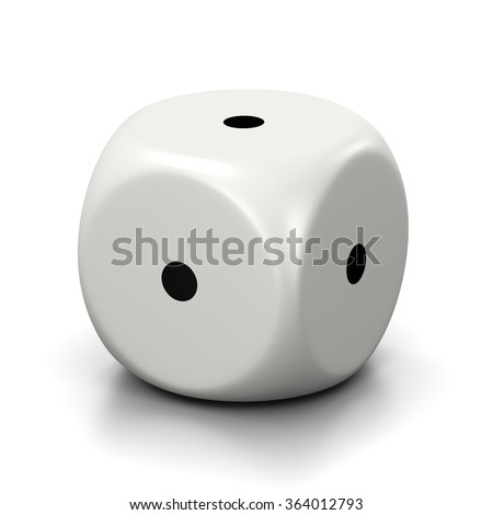 One Single All One Numbered Faces White Dice on White Background 3D Illustration