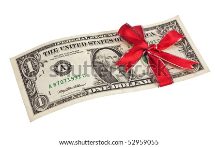 One US dollar bill wrapped by ribbon isolated on white background