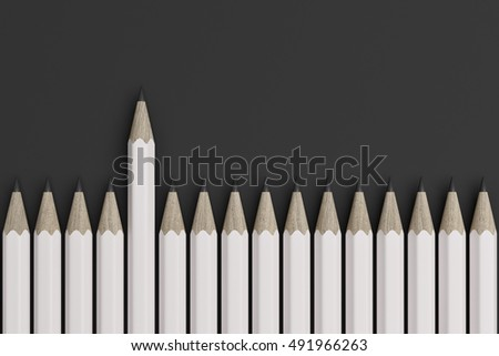 One white pencil leads on the line of other pencils. Top view. 3d rendering
