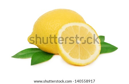 One whole and a half of ripe lemon with green leaves isolated on white background