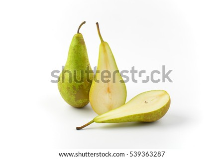 one whole pear and two pear halves