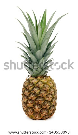 One whole ripe pineapple isolated on white background