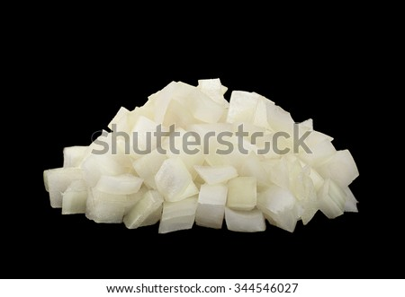 Onion slice closeup isolated on black background