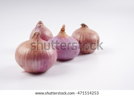 Onions isolated on white. Copy space