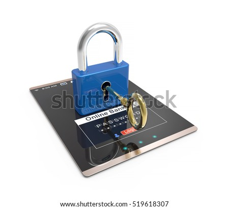 Online banking on touch screen device. Tablet pc computer with padlock symbol. Security banking technology 3D Illustration concept.