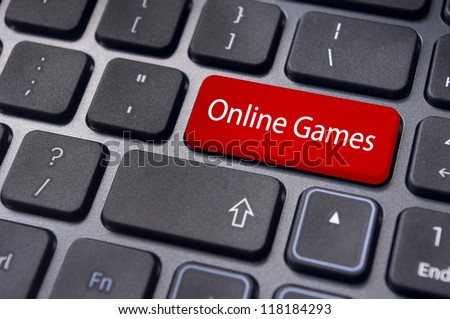 online games concepts, with message on enter key of computer keyboard.