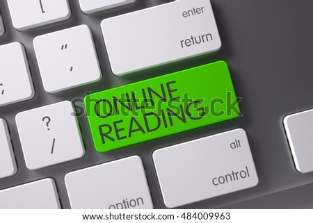 Online Reading Concept: Slim Aluminum Keyboard with Online Reading, Selected Focus on Green Enter Keypad. 3D Render.