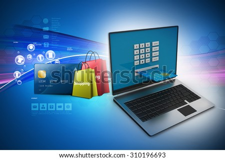 Online shopping concept in color background