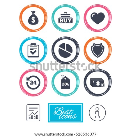Online shopping, e-commerce and business icons. Checklist, like and pie chart signs. Money bag, discount and protection symbols. Report document, information icons.