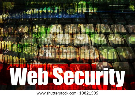 Online Web Security message on a tech abstract background