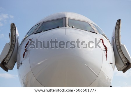 Open aircraft doors & Abstract Jet Aircraft Taxiing Airport Stock Photo 219789598 ... Pezcame.Com