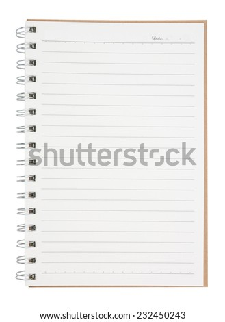 open blank page notebook  isolated on white background,  file includes a excellent clipping path