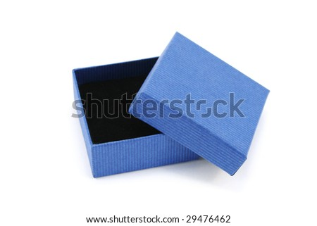 Open blue cardboard gift box with black foam interior used for small jewellery items
