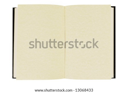 Open book :  blank hardback book with faded parchment pages isolated against white background.  Space for copy.
