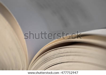 Open book, focus on pages at the right side