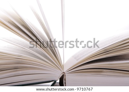 Open book sideview with pages turning over